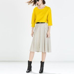 Zara High Waist Skirt Laser Cut Detail with Belt